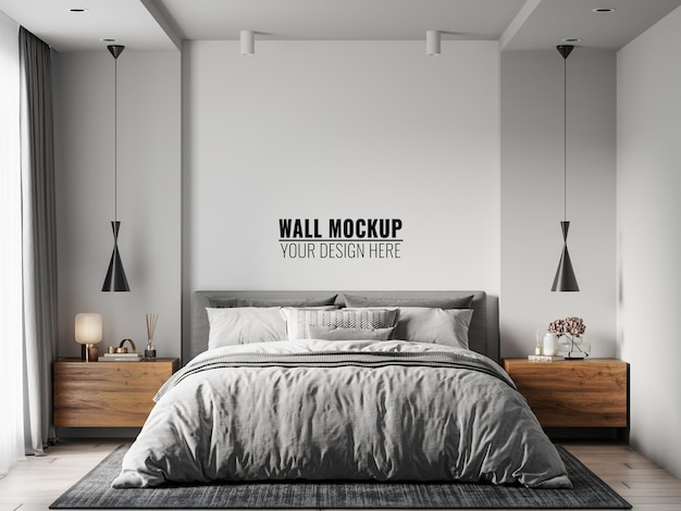 Wall mockup in bedroom interior