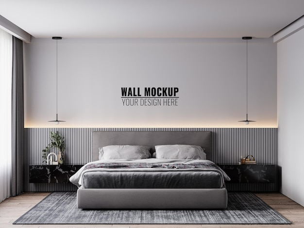 Mockup di parete all'interno della camera da letto