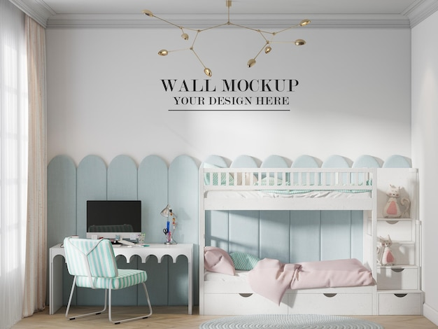 Wall mockup in bedroom with bunk bed and computer desk