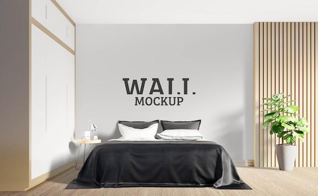 壁のモックアップ-温かみのある茶色の木製の色調のベッドルーム
