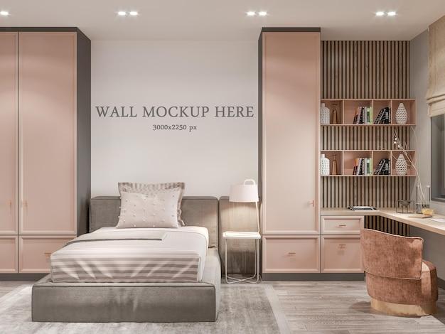 신고전주의 방에 있는 10대 소녀 침실의 침대 뒤에 있는 벽 모형