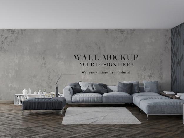 Макет стены за кроватью и мебелью