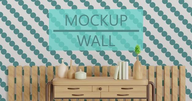 家具テーブルの後ろの壁のモックアップ