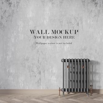 Макет стены за радиатором с минималистской мебелью