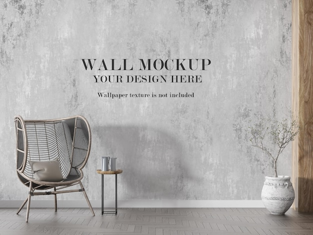 Макет стены за стулом из ротанга