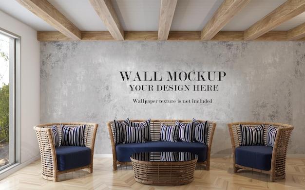Макет стены за мебелью из ротанга
