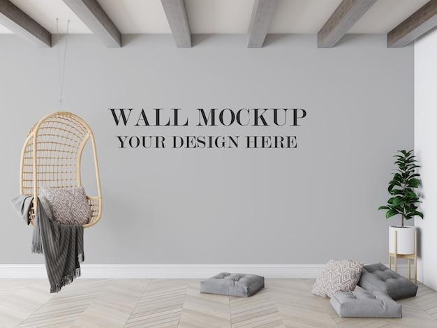 籐のブランコ椅子の後ろの壁のモックアップ