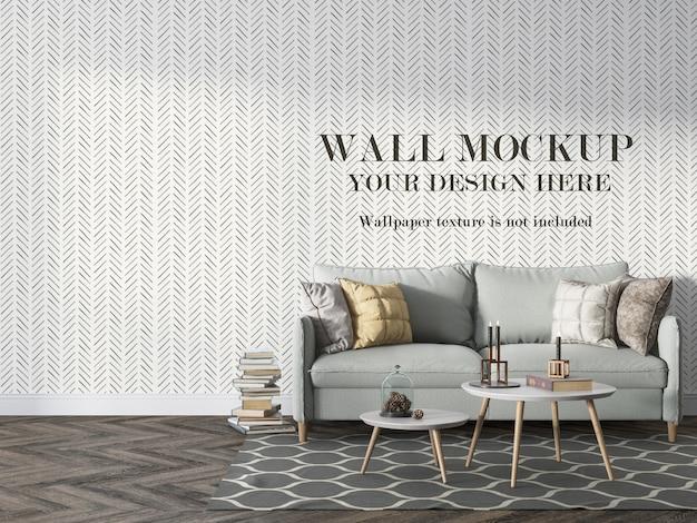 Макет стены за скандинавским диваном