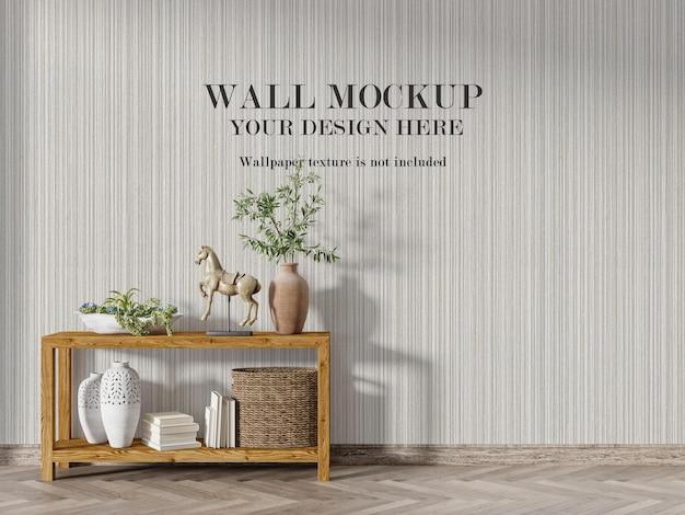木製のコンソールテーブルの後ろの壁のモックアップ