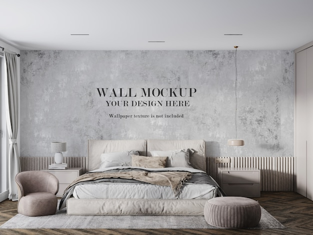 Wall mockup behind beige bed and furniture
