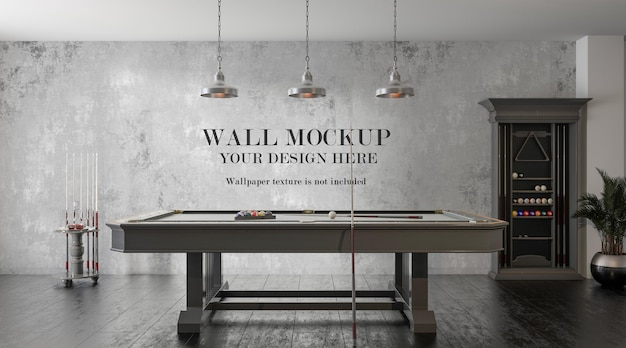 Wall mockup behind billiard table