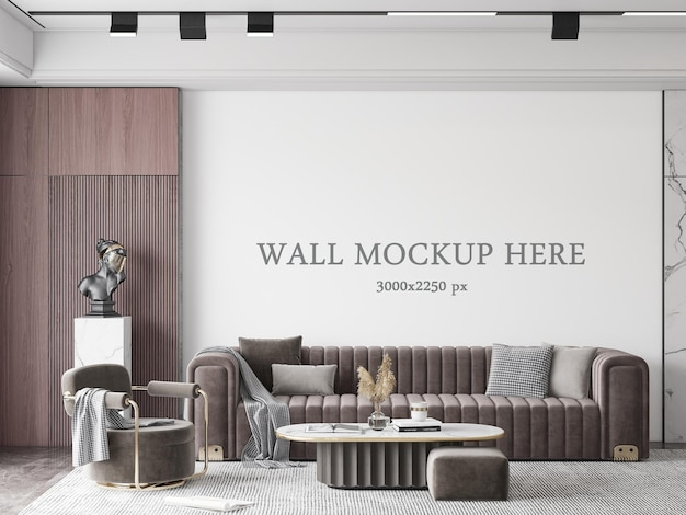 Wall mockup behind a brown sofa in the deluxe living room