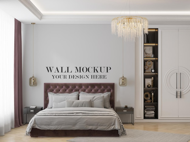 Wall mockup behind burgundy bed in classic interior