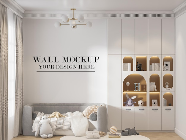 Wall mockup in child friendly living room