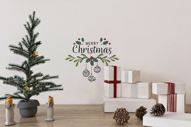 Wall mockup in christmas concept with christmas tree and decoration
