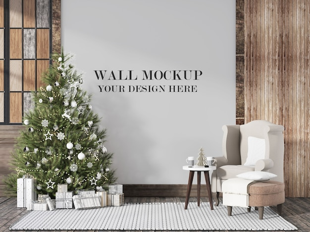 Wall mockup for christmas eve scandinavian interior