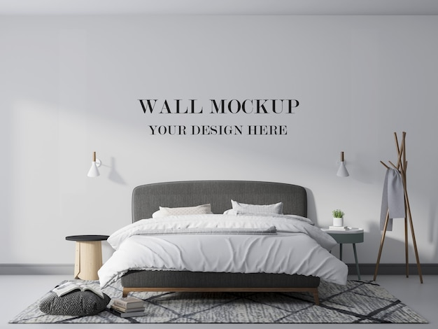 Wall mockup in comfortable bedroom with lamp