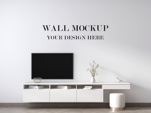 Wall mockup behind contemporary white tv cabinet 3d render