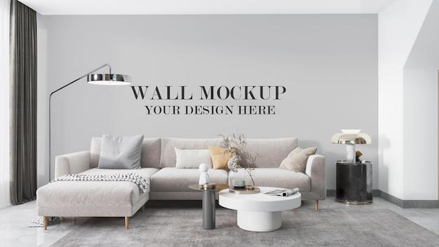Wall mockup behind corner sofa in 3d rendering