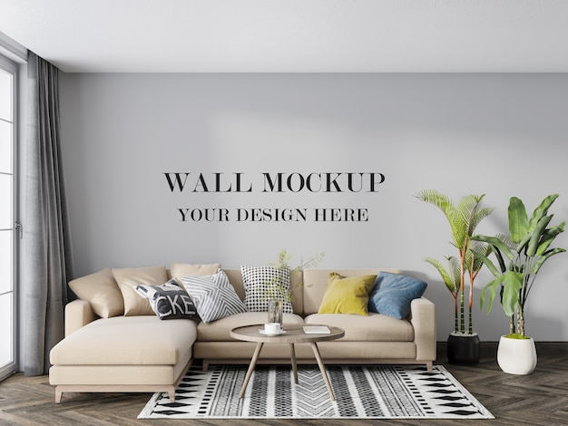 Wall mockup behind corner sofa with chaise