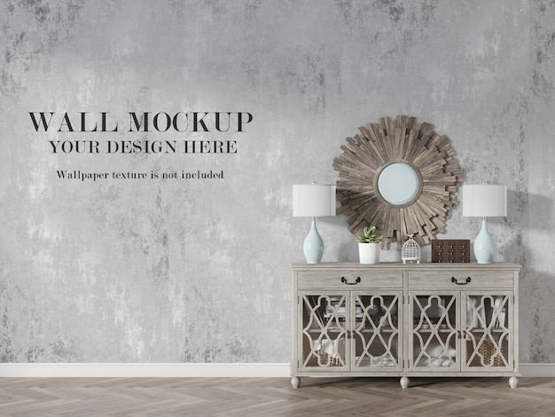 Wall mockup in country style interior