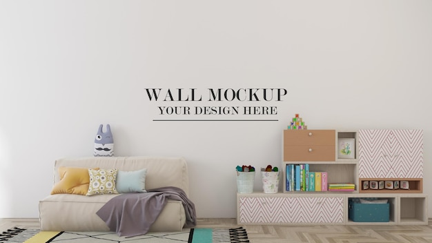 Wall mockup in cozy child room