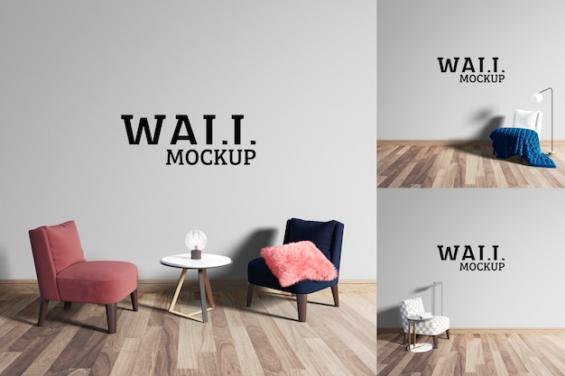 Wall mockup - cute sitting and chatting place