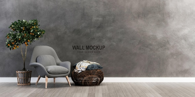 Wall mockup design in 3d rendering