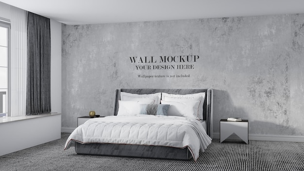 Wall mockup design behind art deco style bed