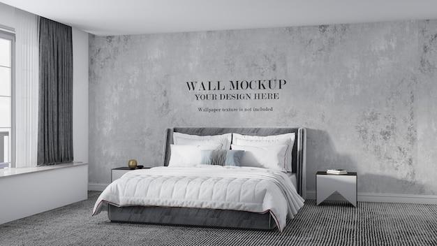 아트 데코 스타일 침대 뒤의 벽 모형 디자인