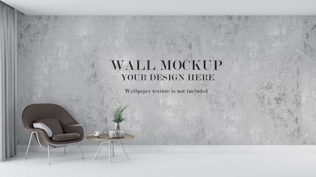 茶色のレトロなモダンなアームチェアの背後にある壁のモックアップデザイン