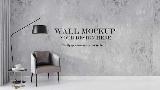 플로어 램프와 의자 뒤의 벽 모형 디자인