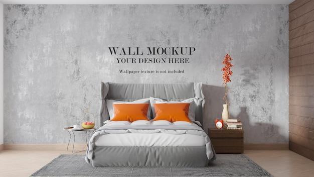 Дизайн макета стены за современной мягкой кроватью с высокой спинкой
