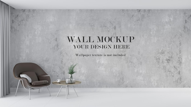 Wall mockup design behind brown retro modern armchair