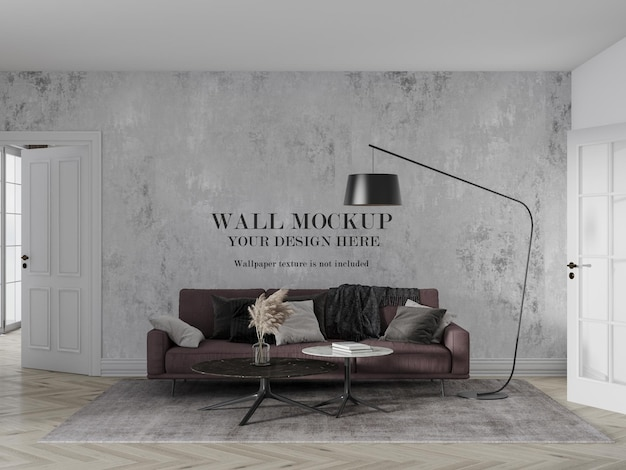 Wall mockup design behind burgundy couch