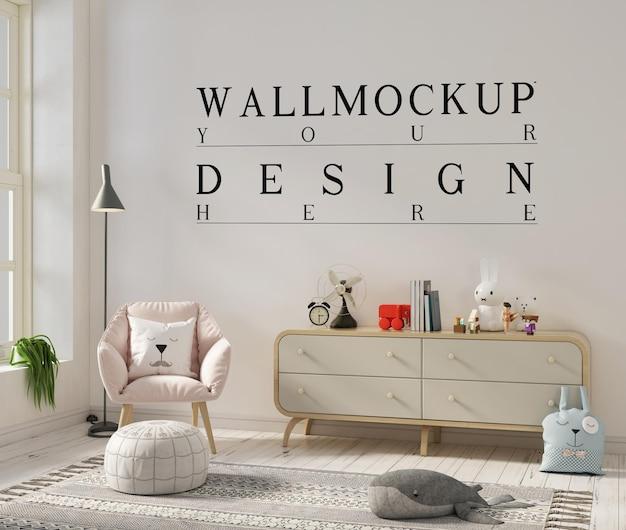 Wall mockup design in cute kids bedroom