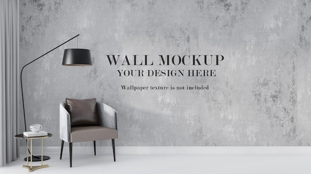 Wall mockup design behind floor lamp and chair
