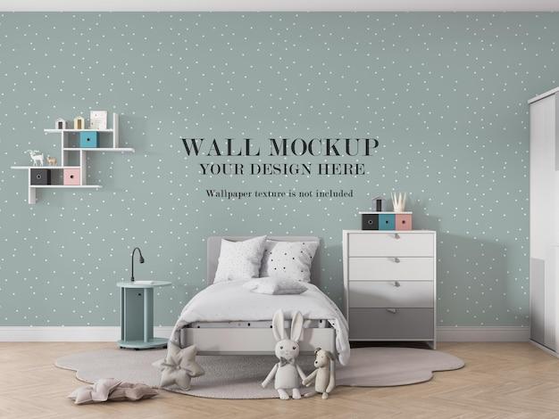 子供部屋のデザインのための壁のモックアップデザイン