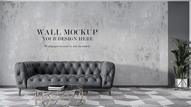 Wall mockup design behind grey chester sofa