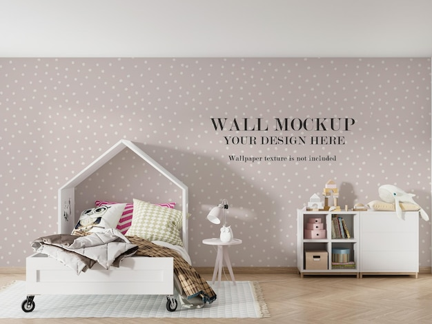 Wall mockup design behind house shaped bed