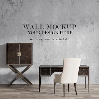 Wall mockup design behind leather desk and cabinet