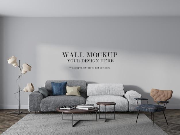 Wall mockup design behind two color sofa