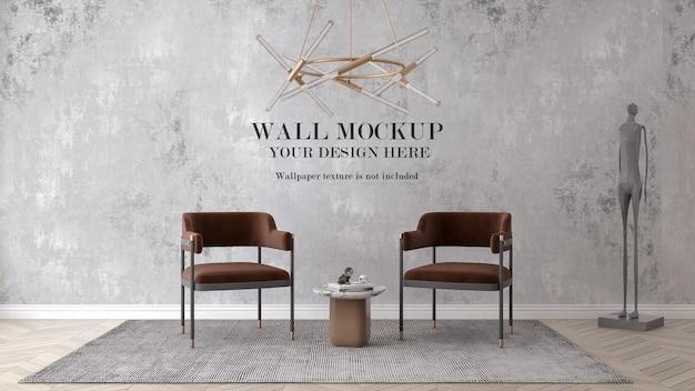 Дизайн макета стены с мебелью