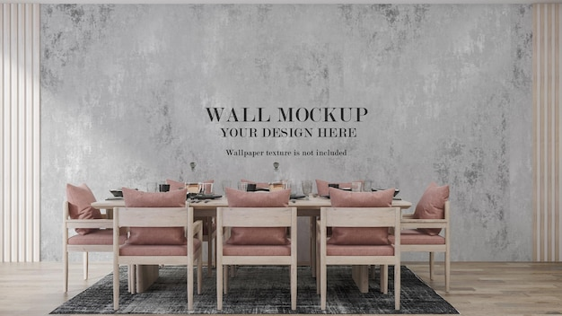 Wall mockup design with furniture