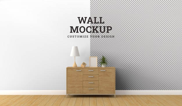 Wall mockup design with modern living room.