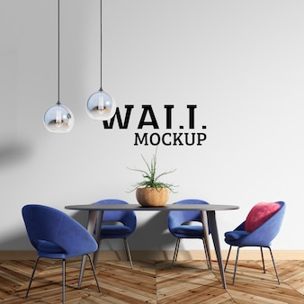 Wall mockup - the dining room has blue chairs