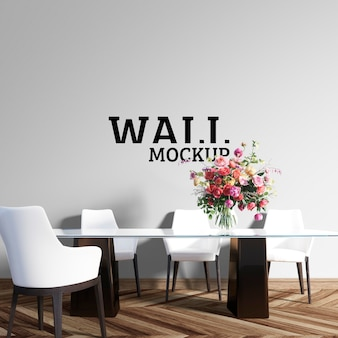 Wall mockup - the dining room has a large glass table