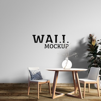 Wall mockup - dining room with wooden tables and chairs