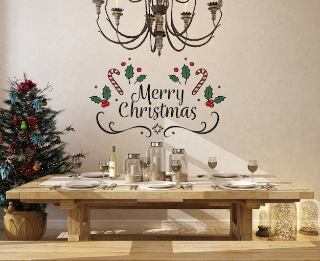 Wall mockup in dinning room with christmas tree