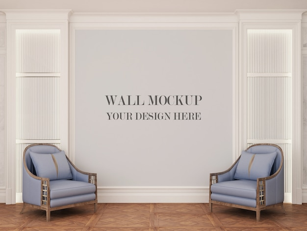 Wall mockup of elegant living room with armchairs